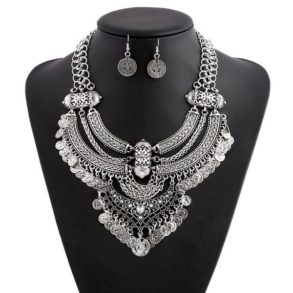 European and American Fashion Trend Accessories Fashion Coins Retro Style Crescent Tassel Thick Chain Short Necklace Set 40cm5cm