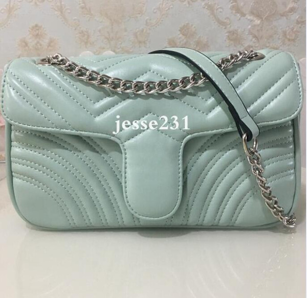 Light Green bag with silver chain