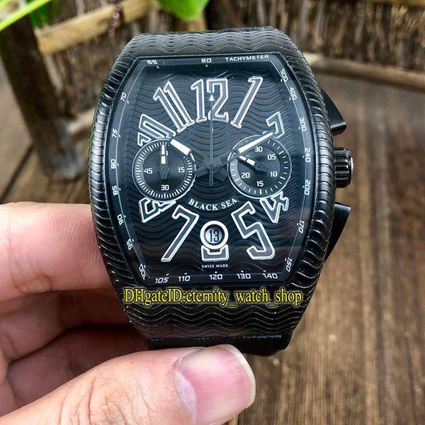 High-quality NEW SARATOGE PXL V 45 CC DT Wave shape Dial Japan VK Quartz Chronograph Movement Mens Watch Black Case Rubber Strap Watches