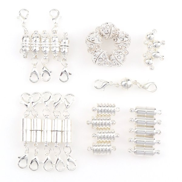 7Style5Pcs Sliver Round Rhinestone Ball$Oval Lobster Buckle Magnetic Clasps For DIY Necklace Bracelet Connectors Jewelry Finding