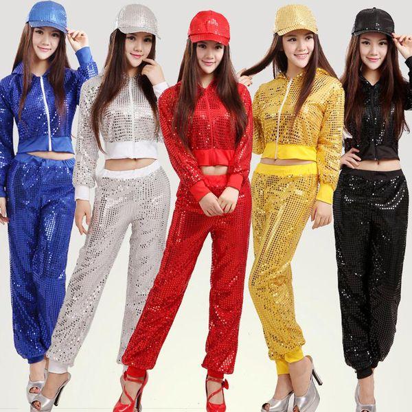 As mulheres modernas lantejoulas Hip Hop Dança Tops + Pants Costume Homens Desempenho Partido dancewear adultos dança jazz Roupa Outfits