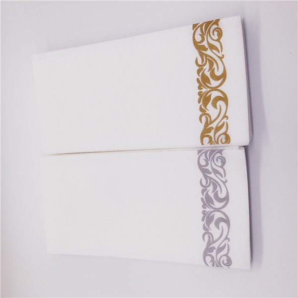 Wholesale Decorative Luxury white Hand Towel Airline Airlaid Absorbent Printed Paper Dinner Napkins 12*17INCH Wedding Hand Wipes