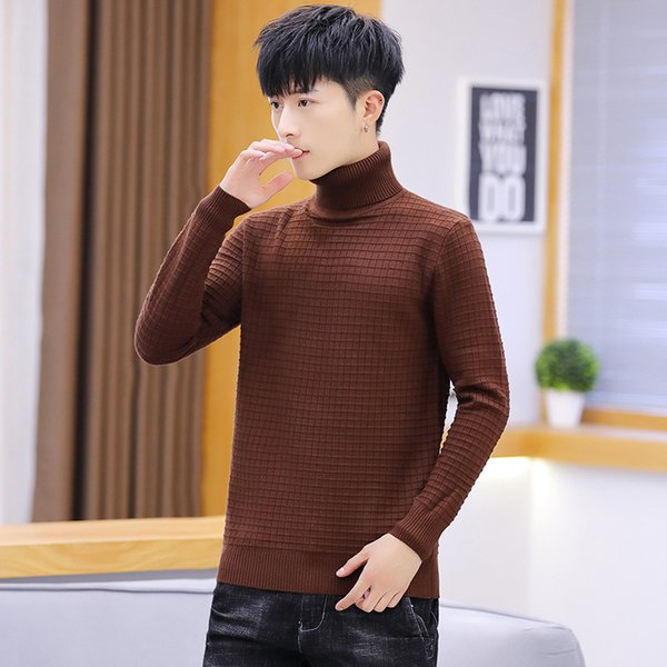 men sweater pink red grey black blue long sleeve white yellow winter fashion turtleneck pullovers solid casual men sweaters