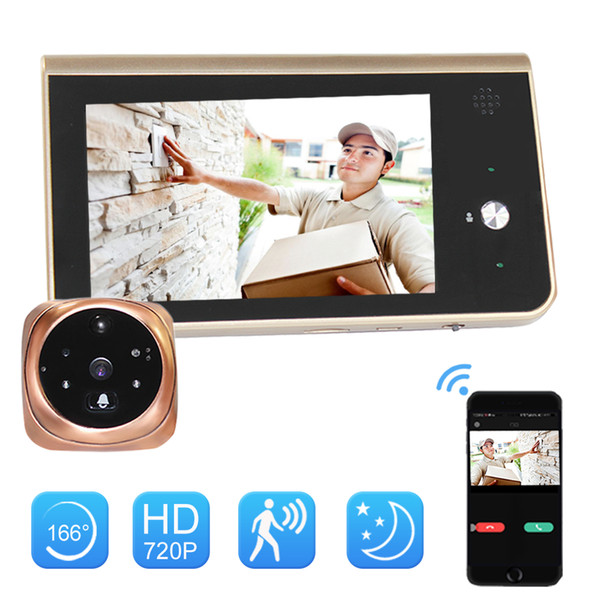 4,3-Zoll-Batterie Türklingel drahtlose intelligente WiFi IP-Kamera Home Phone Videoempfänger Türklingel IR-LED-Augen-Mini-Farb-Kamera im Freien