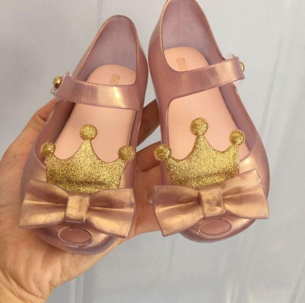 Melissa jelly shoes shining girls gold crown Archi sandali in gelatina PVC bambini antiscivolo scarpe basse principessa bambini fragranza sandali F8837