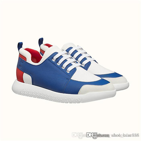 Classic Men Sneaker in technical canvas and Epsom calfskin with fixed laces for slip-on wear, Flat Trainers Designer Casual Shoes Size 38-4