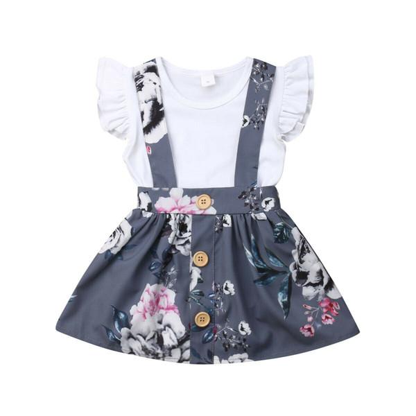 Toddler Kids Baby Girl Summer Princess Sets 0-24Months Ropa de algodón Ruffle Flying Manga Romper + Floral Correa Falda 2Pcs Outfit