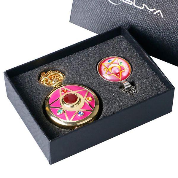 Cuarzo reloj de bolsillo Anime Cosplay Sailor Moon tema collar colgante para mujer para mujer reloj cadena regalos de las muchachas