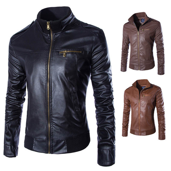 New Direct Sales Men's Leather Fashion Collar Vertical Zipper Slim Male Leather Jacket Coat Free Shipping