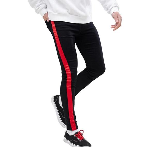 19SS Designer Jeans pantalones para hombre rayado negro Ropa de otoño del resorte adelgazan la calle Jean