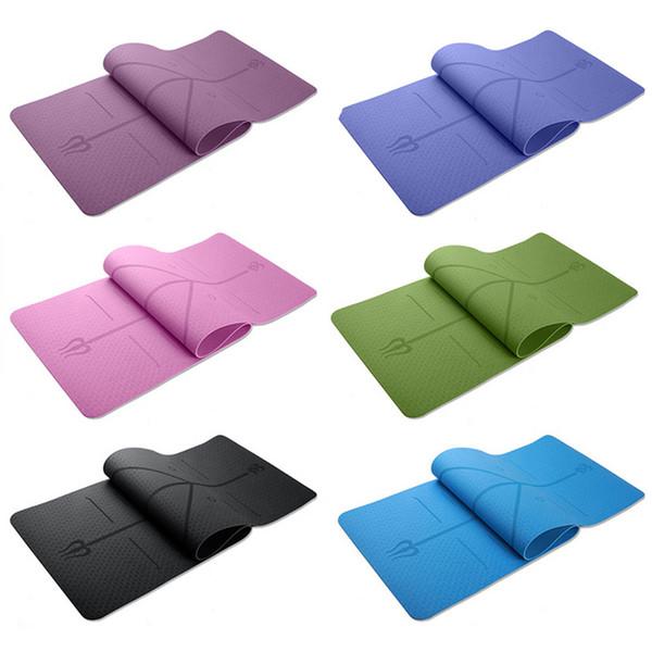 1830 * 610 * 6mm tpe yoga matte mit position linie rutschfeste carpet matte für anfänger umwelt fitness gymnastik yoga matten