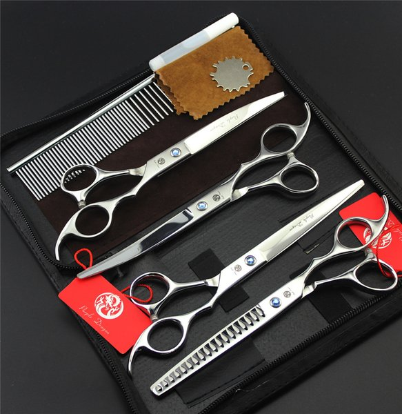 Professional Pet Dog Grooming Scissors 7 inch Hair Cutting + Curved +Thinning Shears 4PCS Set +Steel Comb Case Thinning Rate 50%
