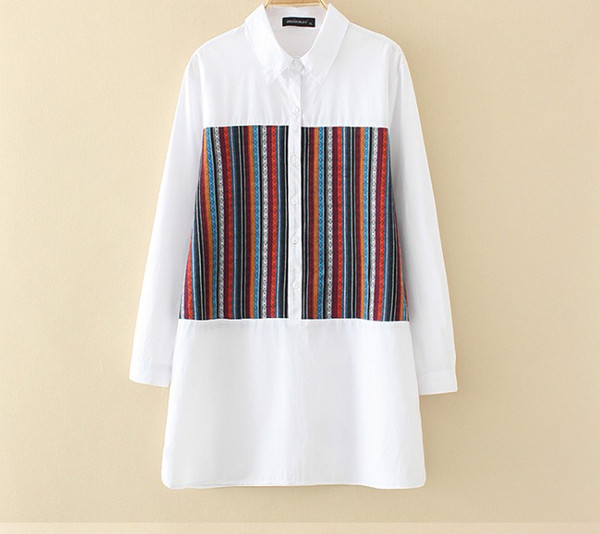 plus size women's and blouses 2019 spring new korean version of fashion casual color stripe stick cloth longsleeve shirt 3xl, White