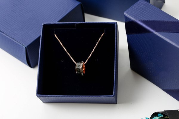 2019 new trend fashion couple models single ring black crystal transfer beads necklace