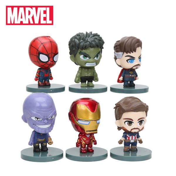 5-10cm 6pcs The Avengers Figure Set Infinity War Thanos Ironman Spiderman Captain American Hulk Black Panther PVC Action Figures