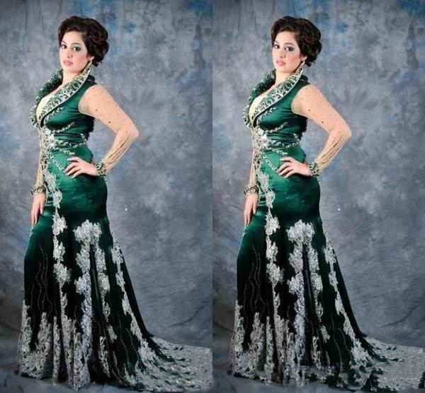 Arabia Saudita cristalli donne sirena prom dresses 2019 verde smeraldo pizzo applique in rilievo marocchino abiti da sera formale illusione maniche lunghe
