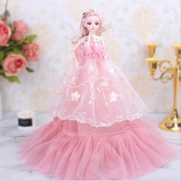 """18"""" 46cm Handmade Wedding Dress Dolls for Girls Princess Evening Party Ball Long Gown Bridal Veil Clothes Doll Accessories Toy"""