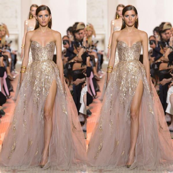 Seksi Altın Aplike A Hattı Gelinlik Sweetheart Yüksek Yan Bölünmüş Abiye Kadınlar Örgün Parti Elbise Vestido Robe de soirée Wear