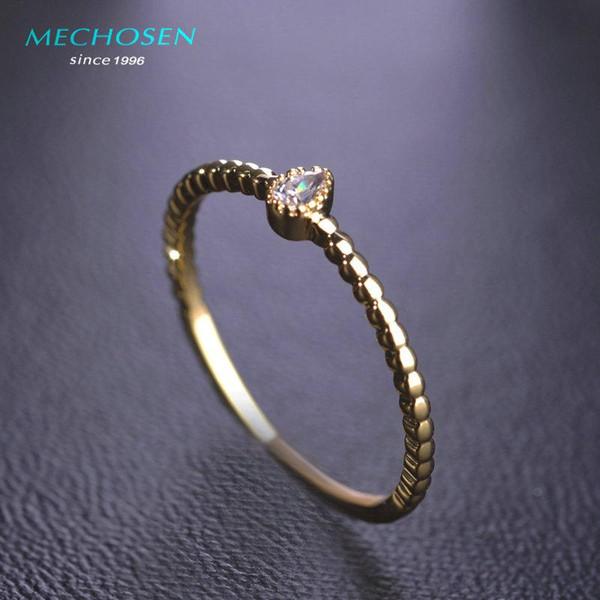All'ingrosso-MECHOSEN Shiny Zircone pietra anelli sottili per le nozze da sposa Colore oro Cuore d'amore Anel Aros Accessori Partito Bijoux Aneis