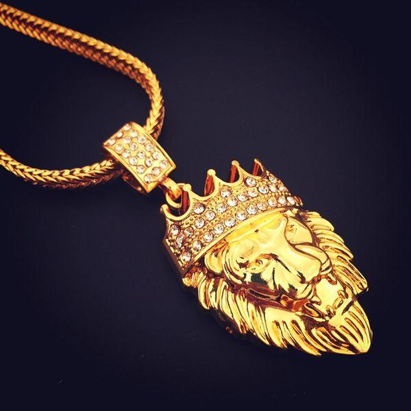 Hot Design Lion Head Collana Snake Bone Chain Golden Collane con pendente di alta qualità Hip-hop People Collana di moda