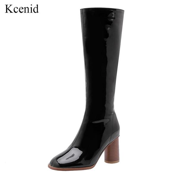 Kcenid cuir verni genou bottes hautes bottes d'hiver femmes talons hauts épais chaussures d'automne femme noir blanc