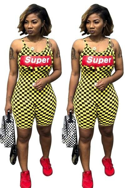 Women Plaid Shorts Jumpsuits Super Letters Designer Rompers One Piece SHorts Overalls Clubwear 2019 Summer Tracksuit Outfits Cloth C61709