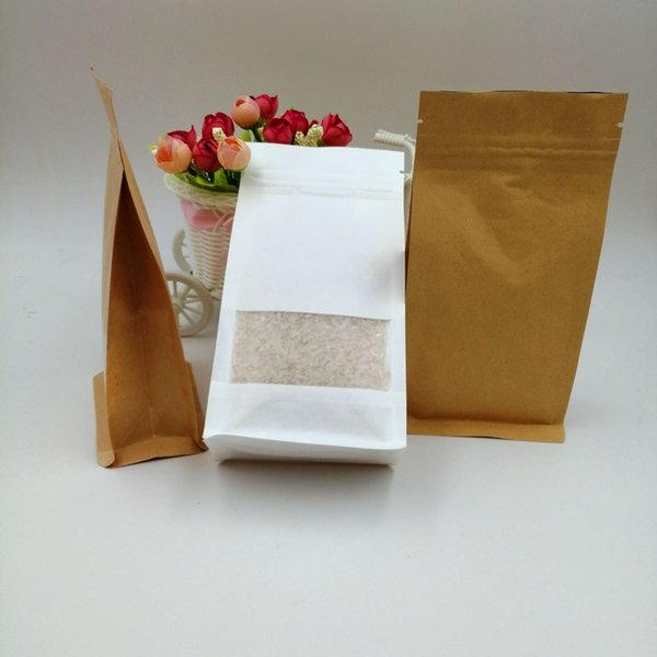 10x20x6cm 50pcs White/Brown Kraft Paper Bag For Gifts Christmas Food Tea Candy Zip Lock Kraft Paper Bag With Window Stand Pouch