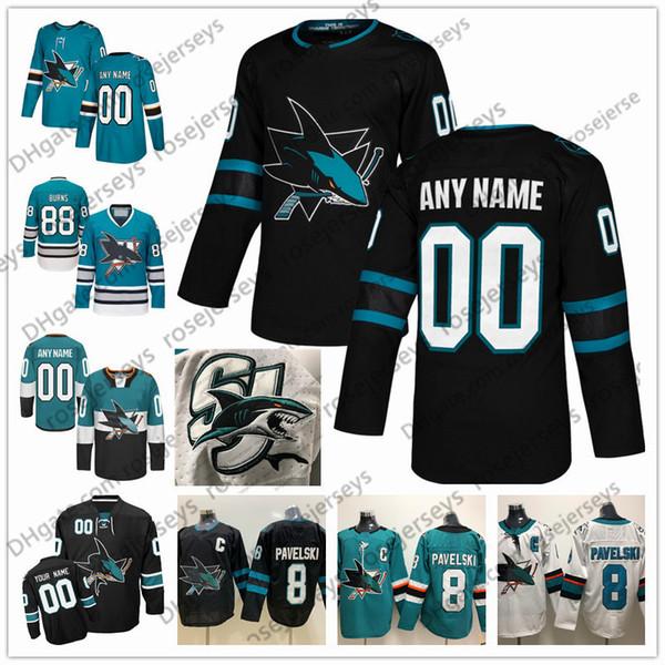 Benutzerdefinierte San Jose Sharks 2019 Black Third Jersey Beliebige Anzahl Name Männer Frauen Jugend Kind White Teal Green Vintage Burns Karlsson Kane Pavelski