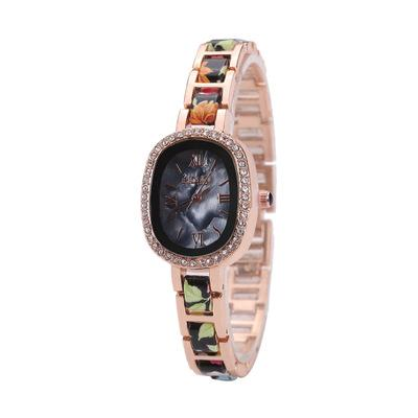 Diamond-encrusted Oval Small Dial Quartz Watch Ceramic Strap Jewelry Buckle Casual Ladies Watch Elegant Decorative Watch