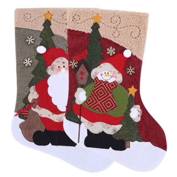 2019 Büyük Yaratıcı Noel Noel Baba Kardan Adam Stocking Noel Hediye Şeker Sahipleri Çorap Ağacı Süsler Chrismas Süslemeleri