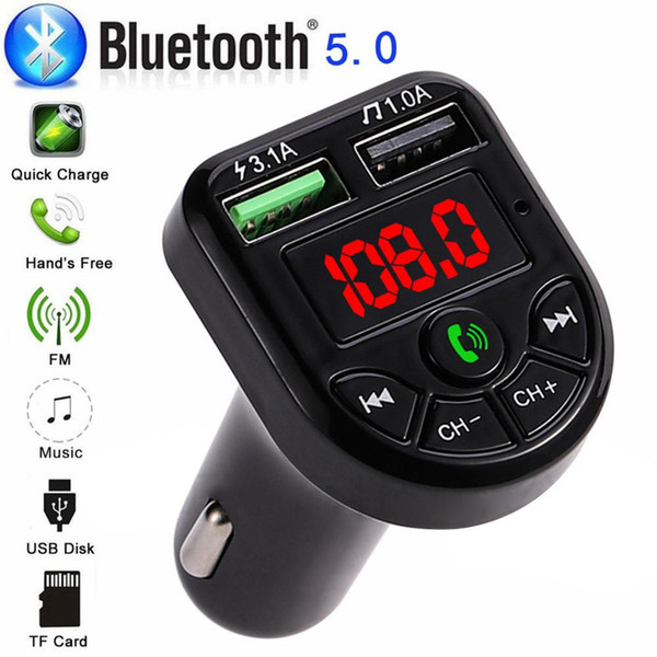 Wireless In-car di Bluetooth 5.0 Trasmettitore FM con display a LED MP3 Car Stereo Radio FM adattatore Fast Car Charger Bluetooth di ricezione GPS