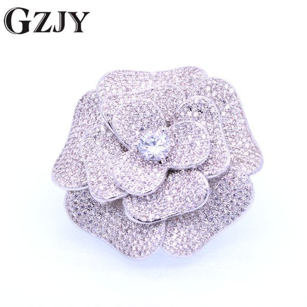 GZJY Vintage Flower Inlay Zircon White Gold Color Brooches/Pendant versatility Jewelry For Women Wedding Bridesmaid Brooch Pin