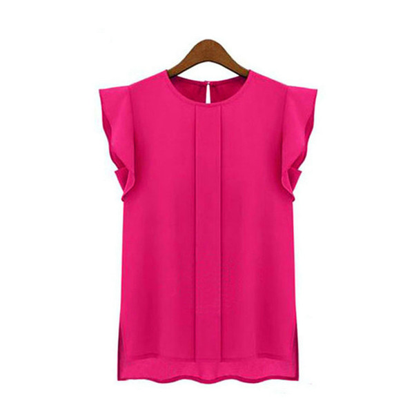 Womens T-shirt Casual Loose Chiffon Short Tulip Sleeve tshirt elegant Tops Hot Pink blue Green top femmes tshirts Summer 2019