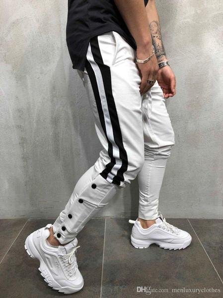 Брюки мужские дизайнерские Street Pantalones Полосатые кнопки Дизайн Карандаш Гарем Брюки Повседневные спортивные бегуны