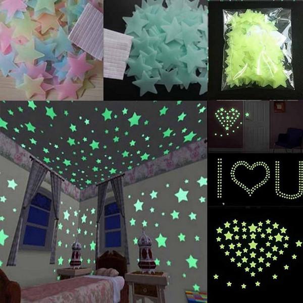 Lueur dans l/'obscurité ballons Chambre Wall Stickers PORTE PLAFOND ballons de football étoiles