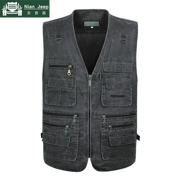 Plus Size 6XL 7XL Summer Outwear Denim Vest Uomini Vintage Giacca senza maniche Multi Pocket fotografia Mens gilet chaleco hombre