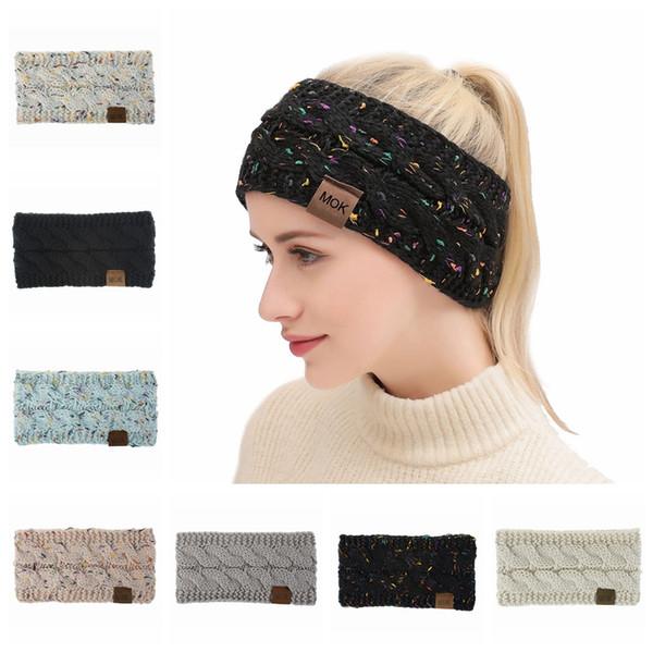 Женщины Вязаные грелки оголовье Lady Winter Красочные вязания крючком диапазона волос Открытый защиты слуха Christmas Party Gift TTA1837