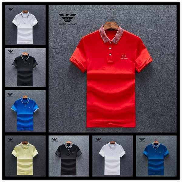 HOT! Casual POLO Shirt Summer England Classic Short Sleeve Striped Polos Top Brand Men's Embroidery Pullover Lapel Neck Cotton Tee