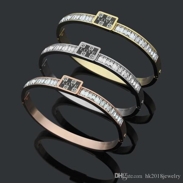 Bracelet CZ pierre de la vente chaude de mode amoureux à l'intérieur de l'amour Bracelet pour hommes femmes Couple cadeau bijoux en acier inoxydable No Fade