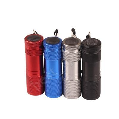 top popular Aluminum Alloy Portable UV Flashlight Violet Light 9 LED 30LM Torch Light Lamp Mini Flashlight 4 Color ZZA416 2021