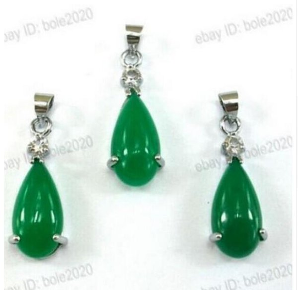 ENVÍO GRATIS ++ Beautiful Green Tear Drop Dangle Gem Necklace Earring Jewelry SetBeautiful Green Tear Drop Dangle Gem Necklace Pendiente Jewe