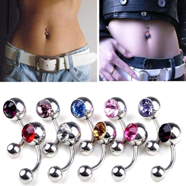 12 Colors Rhinestones Anti Allergy Simple Lounger Titanium Belly Button Rings Navel Piercing