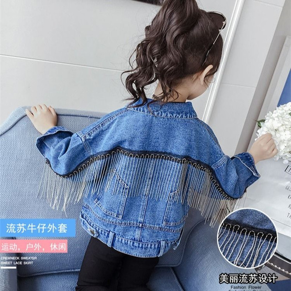 top popular 2020 Spring Autumn New Kids Girls Fashion Tassel Denim Jackets Girls Long Sleeve Pocket Denim Coat Children Casual Outwear A16 2021