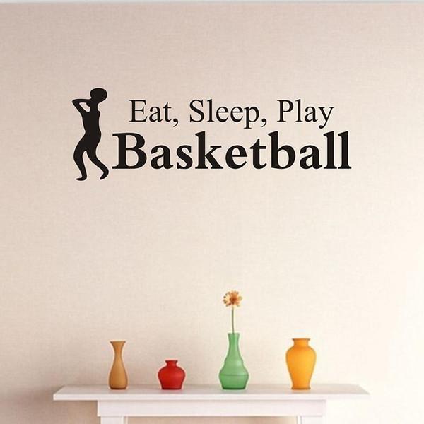 58 * 19 cm Mangez Sommeil Jouez Basketball Sticker Mural Vinyle Art Stickers Maison Enfants Chambre salon Décoration