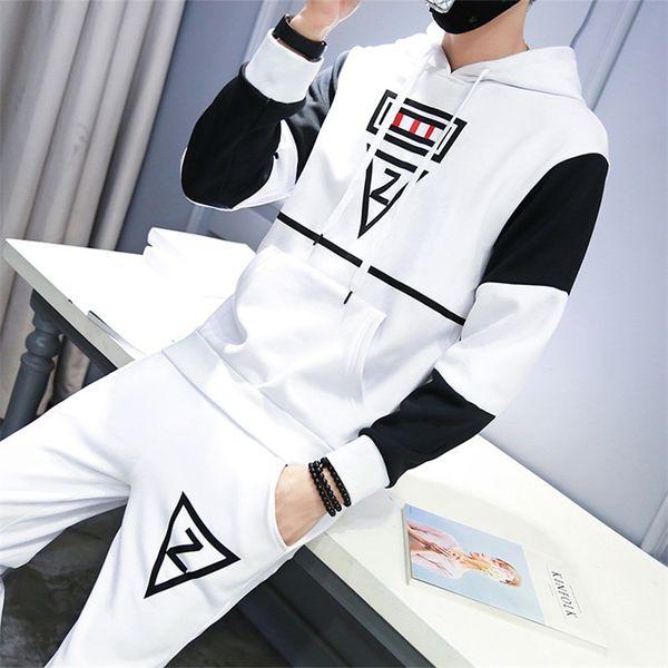 Casual sporting suit men hooded tracksuit track hidden suspenders Black men's sweat suits set Pockets white Z print large size