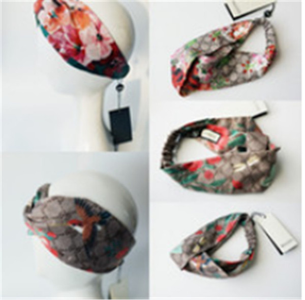 Designer de Cabeça Headband Cachecol para Mulheres de Luxo 100% de Cabelo Elástico de Seda bandas Meninas Retro Floral Pássaro Flor Turbante Headwraps presentes