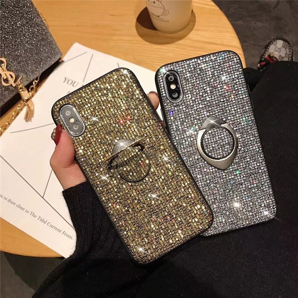 For iPhone X XS Max/XR 8/7/6 Plus Phone Case Mobile Shell Glitter Clear Bumper Case Ring Kickstand Shiny Shockproof Women Protective Case