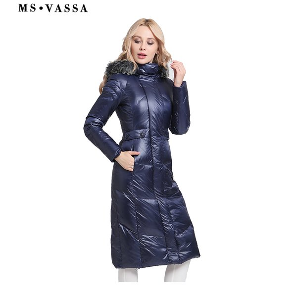2019 Ms Vassa Down Jacket 2018 Women New Winter Jackets Parkas Plus Size 6xl 7xl White Duck Down Long Coats Stand Up Collar Outerwear From Z02a