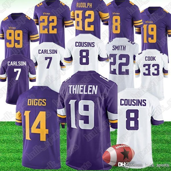 promo code 5de24 e934b 2019 Minnesota 19 Adam Thielen Vikings Jerseys 14 Stefon Diggs 21 Mike  Hughes Jerseys 33 Dalvin Cook 22 Harrison Smith American Football Jerseys  From ...