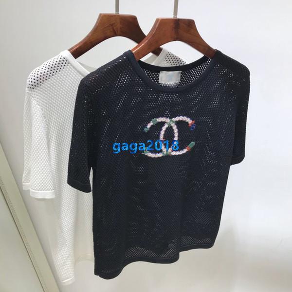 filles haute femmes fin t-shirt avec motif de broderie lettre tricot à manches courtes en tête chemise blouse évider tees nouveau sweat-shirt design de mode